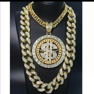 Gold dolla sign cuban bling icy necklaces